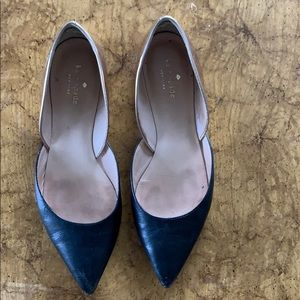 Kate spade two tone black and gold pointed flats